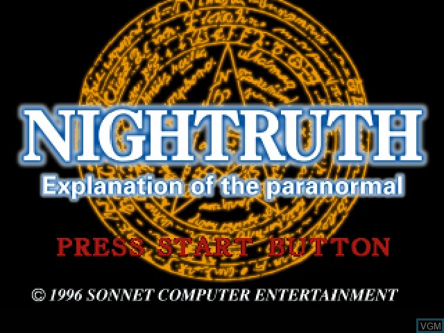 Title screen of the game Nightruth - Explanation of the Paranormal - 'Yami no Tobira' on Sony Playstation