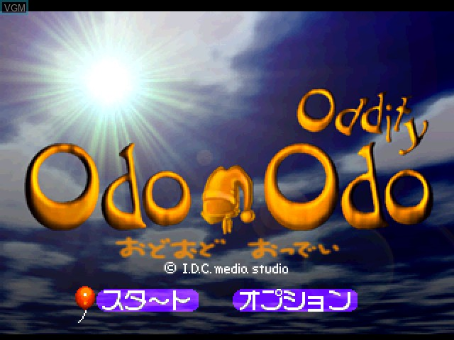 Title screen of the game Odo Odo Oddity on Sony Playstation