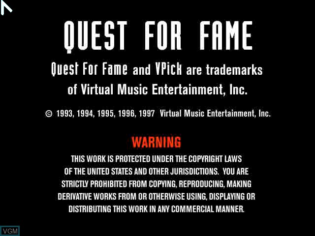 Title screen of the game Quest for Fame - Be a Virtual Rock Legend on Sony Playstation