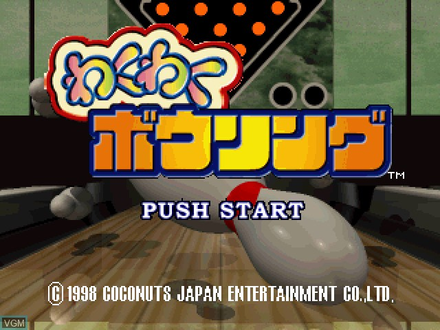 Title screen of the game Waku Waku Bowling on Sony Playstation