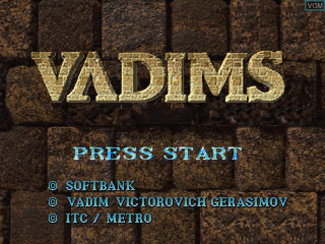 Title screen of the game Vadims on Sony Playstation