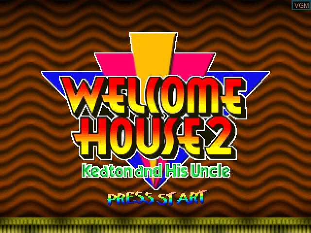 Title screen of the game Welcome House 2 - Keaton and His Uncle on Sony Playstation