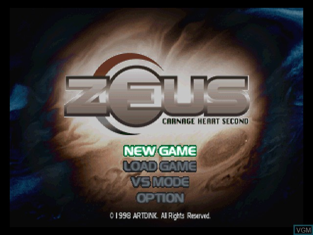 Title screen of the game Zeus - Carnage Heart Second on Sony Playstation