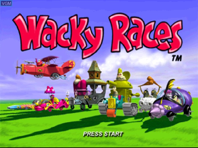 Title screen of the game Wacky Races on Sony Playstation