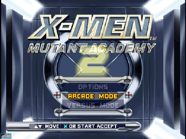 Title screen of the game X-Men - Mutant Academy 2 on Sony Playstation
