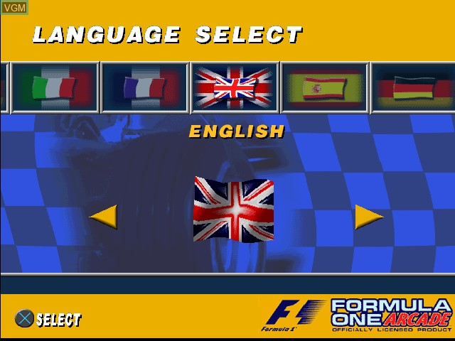 Title screen of the game Formula One Arcade on Sony Playstation