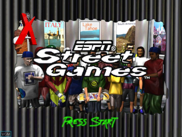 Title screen of the game ESPN Street Games on Sony Playstation