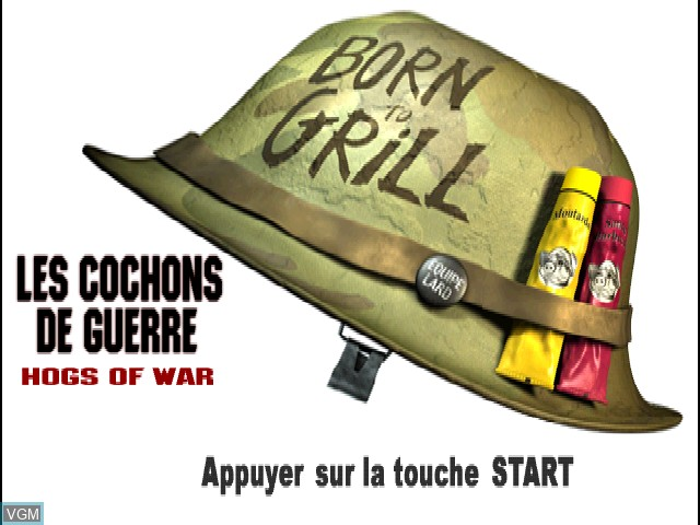 Title screen of the game Les Cochons de Guerre on Sony Playstation