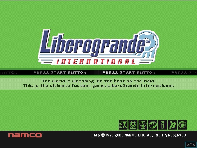 Title screen of the game Liberogrande International on Sony Playstation