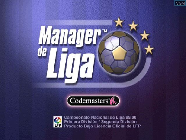 Title screen of the game Manager de Liga on Sony Playstation