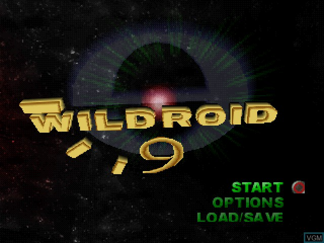 Title screen of the game Wildroid 9 on Sony Playstation