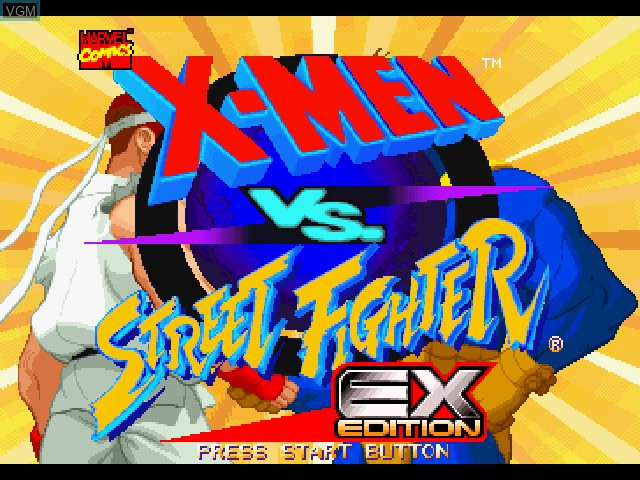 Title screen of the game X-Men vs. Street Fighter - EX Edition on Sony Playstation