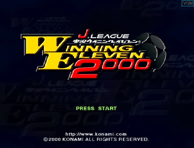 Title screen of the game J. League Jikkyou Winning Eleven 2000 on Sony Playstation