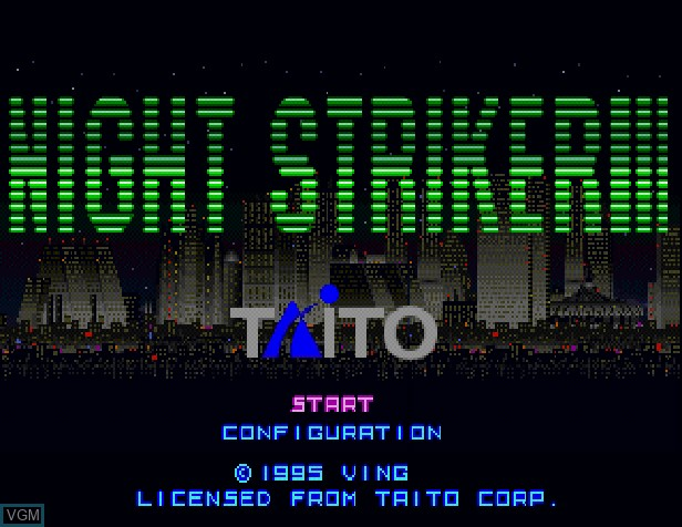 Title screen of the game Night Striker on Sony Playstation
