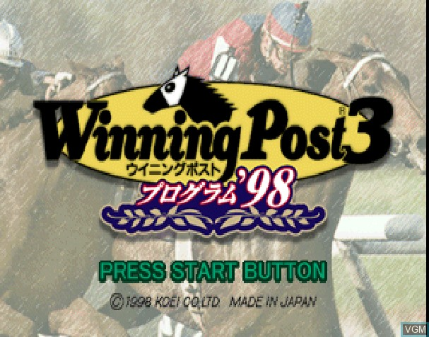 Title screen of the game Winning Post 3 - Program '98 on Sony Playstation