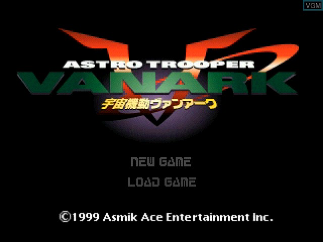 Title screen of the game Astro Trooper Vanark on Sony Playstation