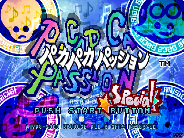 Title screen of the game Pacapaca Passion Special on Sony Playstation