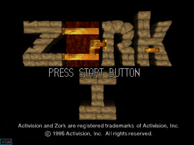 Title screen of the game Zork I - The Great Underground Empire on Sony Playstation