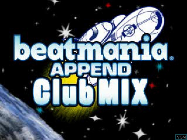Title screen of the game BeatMania Append Club Mix on Sony Playstation