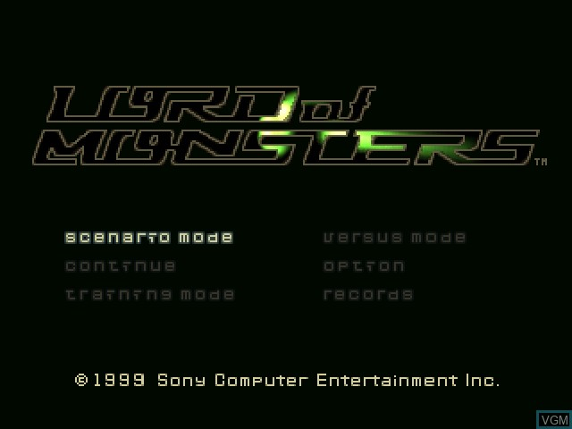 Title screen of the game Lord of Monsters on Sony Playstation