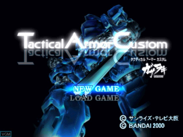 Title screen of the game Tactical Armor Custom Gasaraki on Sony Playstation