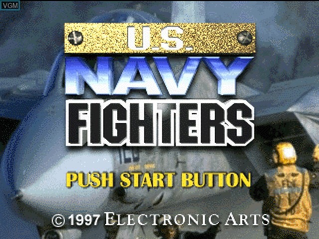 Title screen of the game U.S. Navy Fighters on Sony Playstation