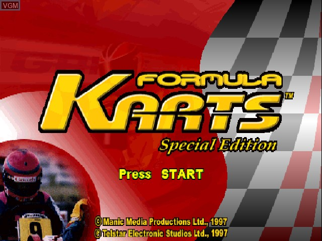 Title screen of the game Formula Karts - Special Edition on Sony Playstation