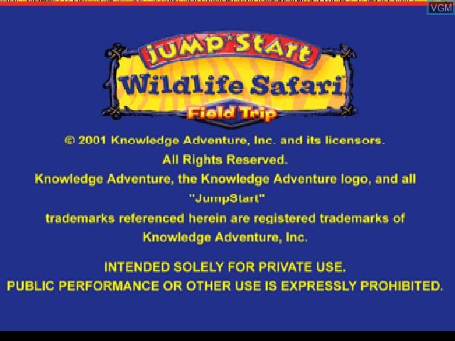 Title screen of the game JumpStart Wildlife Safari - Field Trip on Sony Playstation
