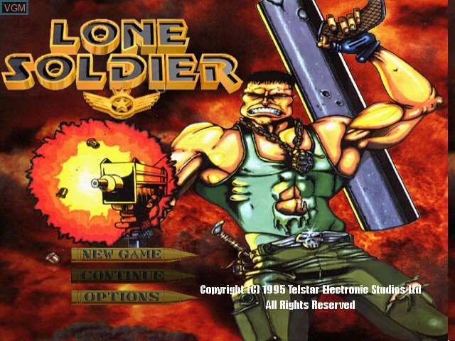 Title screen of the game Lone Soldier on Sony Playstation