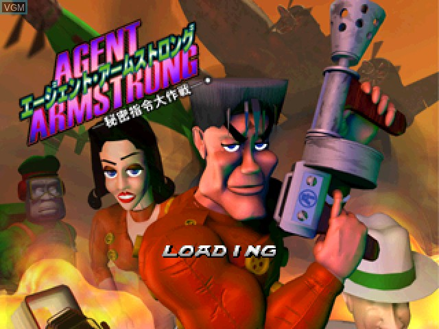 Title screen of the game Agent Armstrong - Himitsu Shirei Daisakusen on Sony Playstation