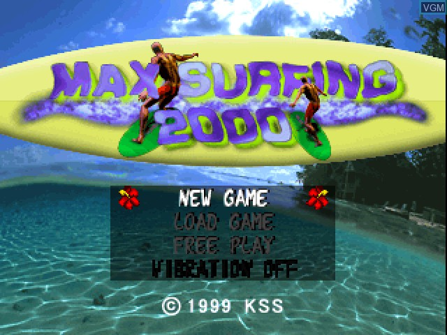 Title screen of the game Max Surfing 2000 on Sony Playstation
