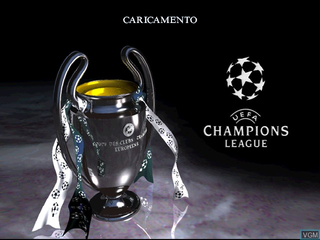 Title screen of the game UEFA Champions League - Stagione 1998-99 on Sony Playstation
