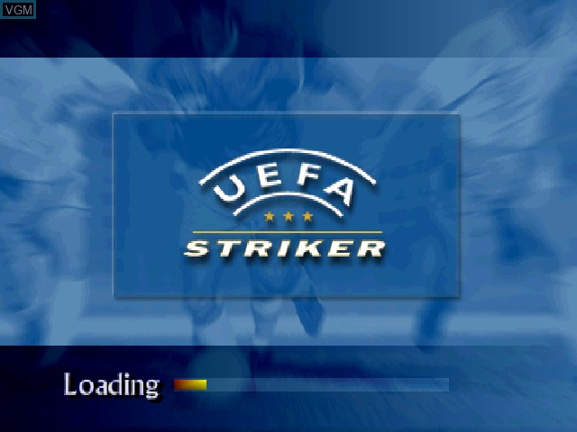 Title screen of the game UEFA Striker on Sony Playstation