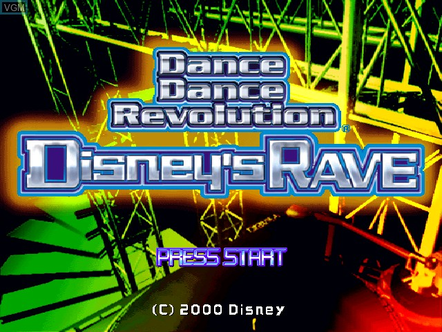 Title screen of the game Dance Dance Revolution Disney's Rave on Sony Playstation