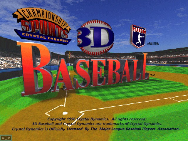 Title screen of the game 3D Baseball on Sony Playstation