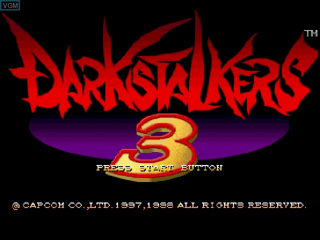 Title screen of the game Darkstalkers 3 on Sony Playstation