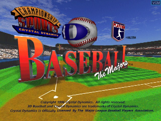 Title screen of the game 3D Baseball - The Majors on Sony Playstation