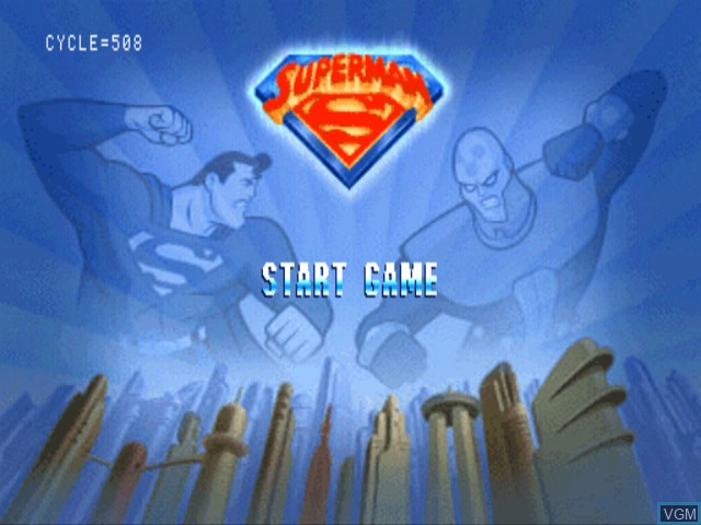 Title screen of the game Superman on Sony Playstation