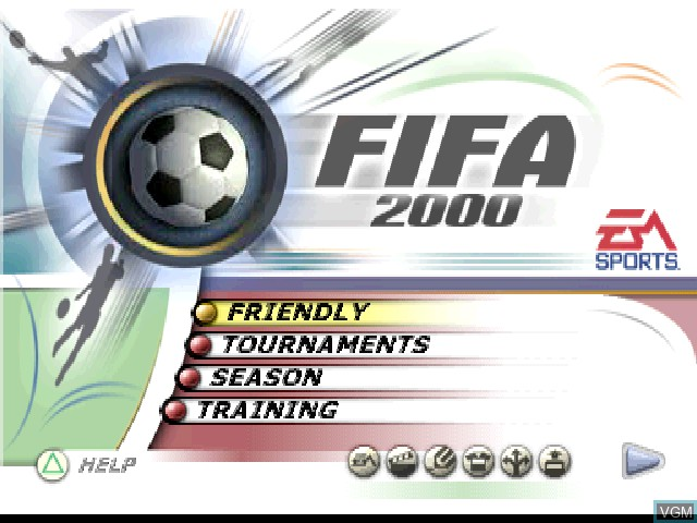 Menu screen of the game FIFA 2000 on Sony Playstation
