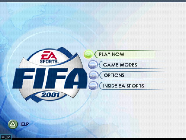 Menu screen of the game FIFA 2001 on Sony Playstation