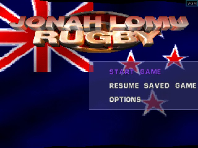 Menu screen of the game Jonah Lomu Rugby on Sony Playstation