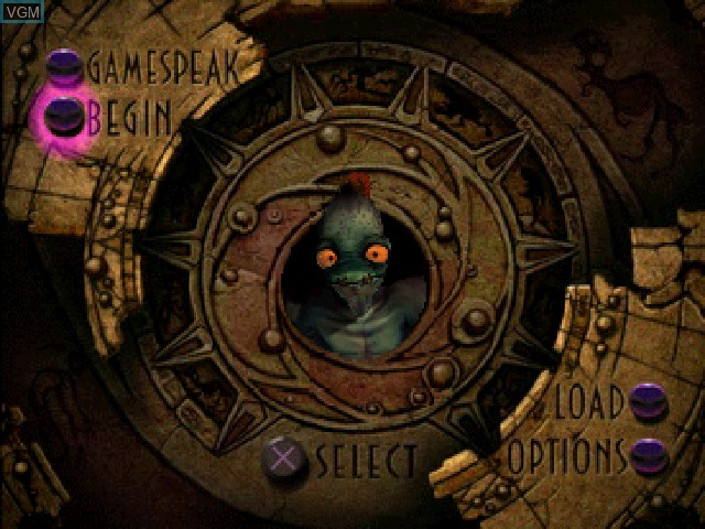 Menu screen of the game Oddworld - Abe's Oddysee on Sony Playstation