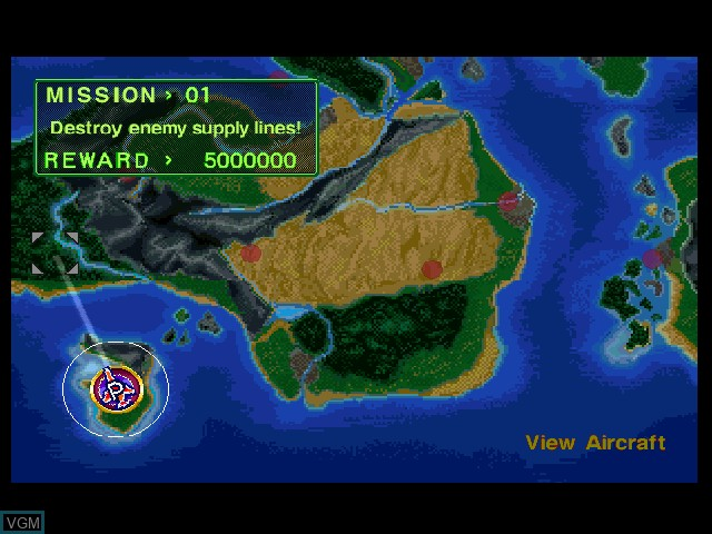 Menu screen of the game Air Combat on Sony Playstation