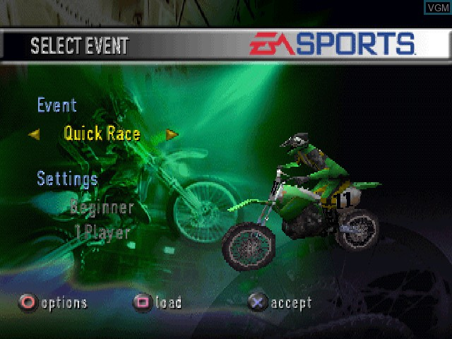 Menu screen of the game EA Sports Supercross 2000 on Sony Playstation