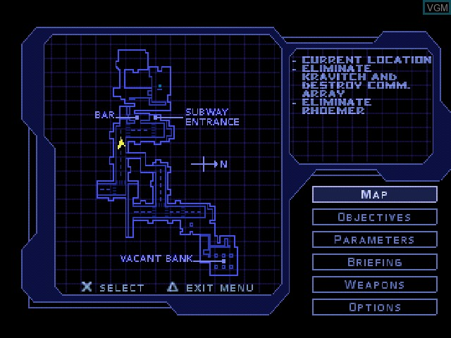 Menu screen of the game Syphon Filter on Sony Playstation
