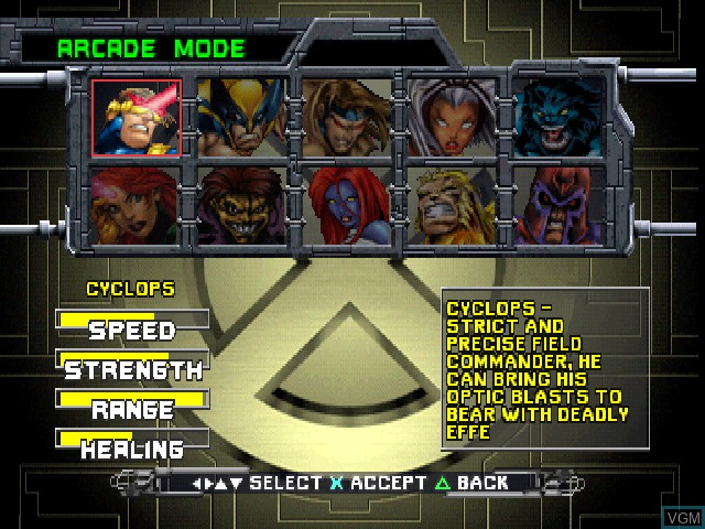 Menu screen of the game X-Men - Mutant Academy on Sony Playstation