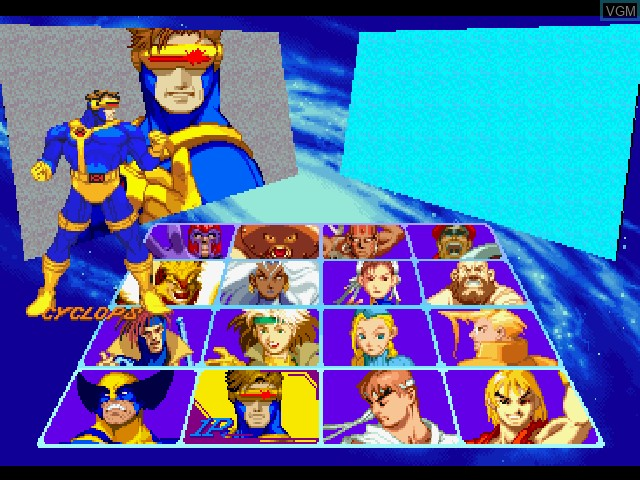 Menu screen of the game X-Men vs. Street Fighter on Sony Playstation