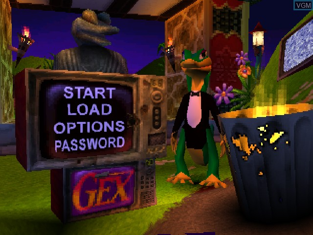 Menu screen of the game Gex - Enter the Gecko on Sony Playstation
