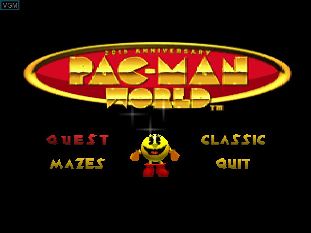 Menu screen of the game Pac-Man World on Sony Playstation