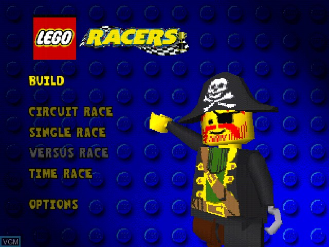 Menu screen of the game LEGO Racers on Sony Playstation